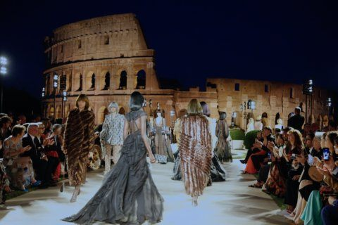 Fendi stages ethereal tribute to Lagerfeld in ancient Rome