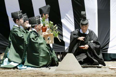 Japan holds ritual to build shrines for Naruhito ceremonies