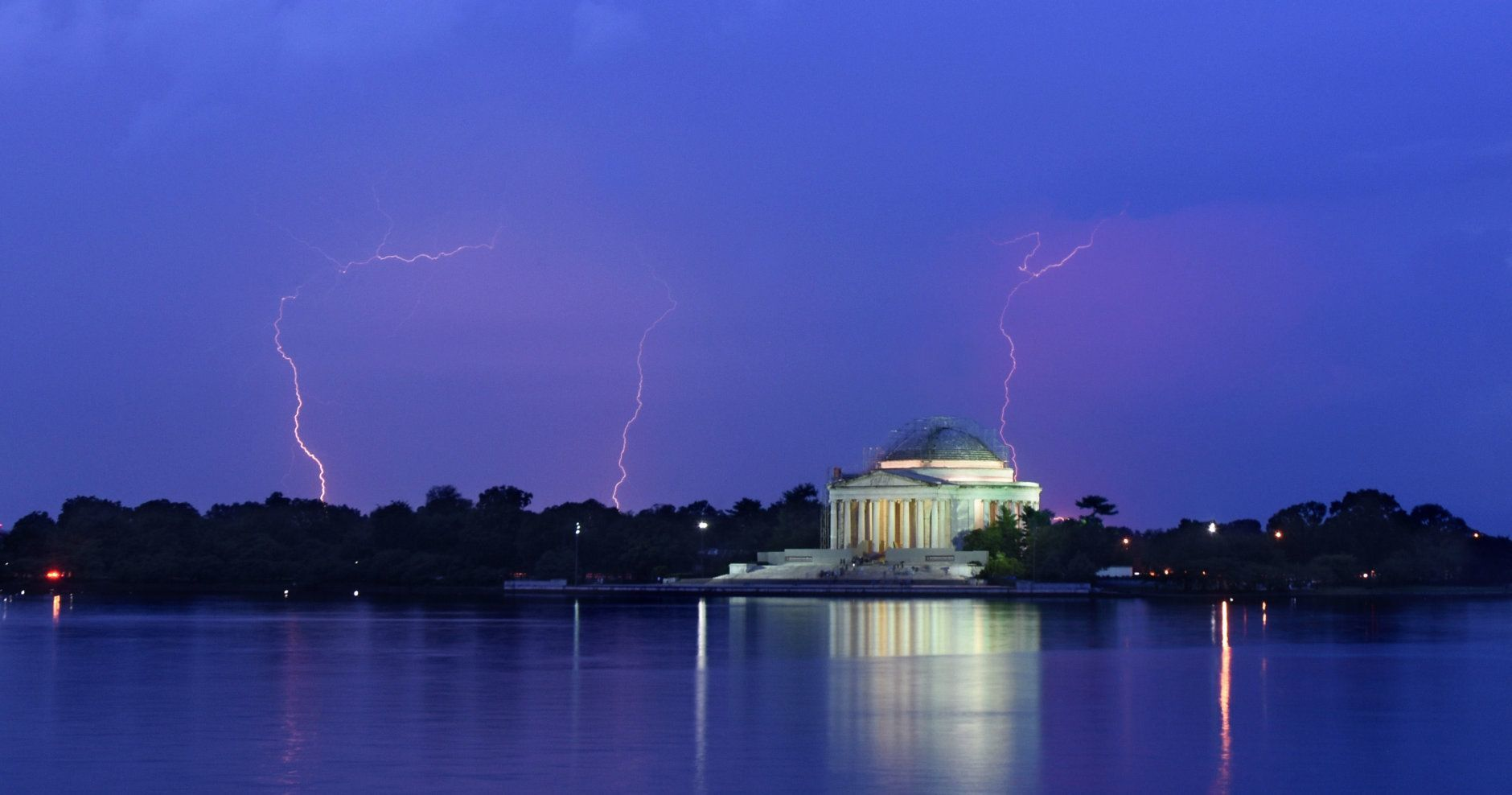 Lightning is seen over the Jefferson Memorial during a storm on July 6, 2019, in D.C. (WTOP/Dave Dildine)