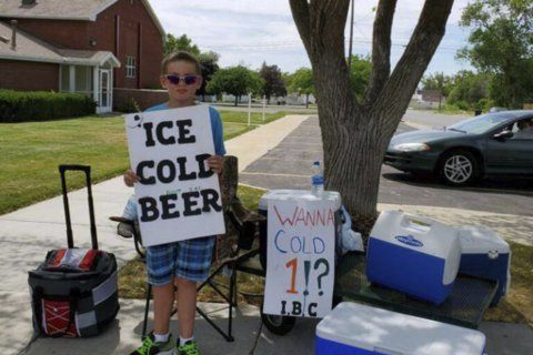 Utah boy advertises 'Ice Cold Beer' at root beer stand