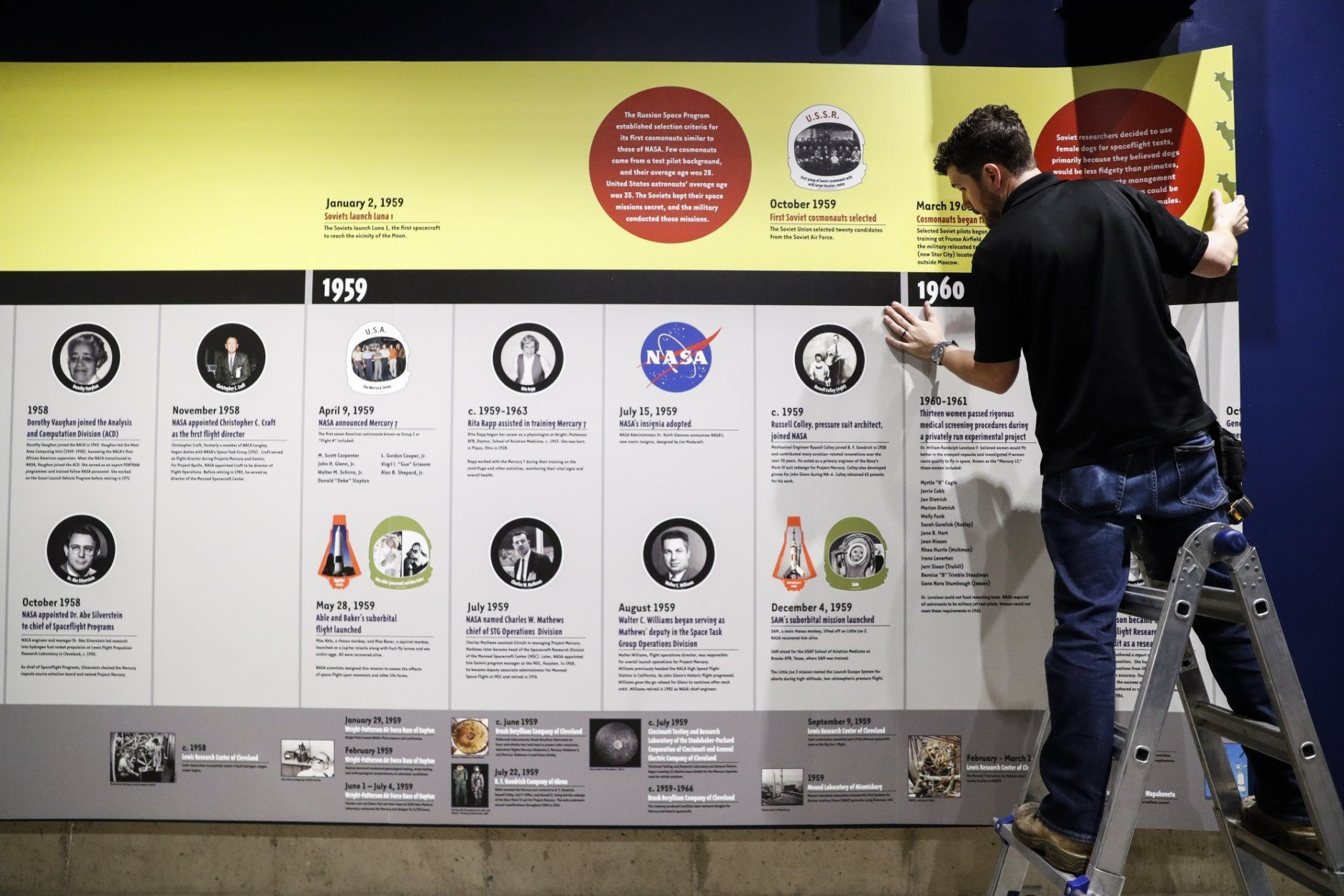 A workman prepares a display at the Armstrong Air & Space Museum, Wednesday, June 26, 2019, in Wapakoneta, Ohio. Very down to earth about most things, folks in this small western Ohio city are over the moon as they get ready to celebrate the 50th anniversary of the day they watched their hometown hero along with the world. Neil Armstrong put Wapakoneta  on the map in July 1969 when he became the first human to walk on the moon. (AP Photo/John Minchillo)