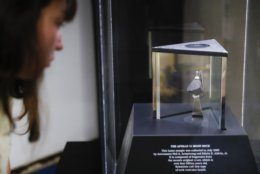 A moon rock is displayed within a glass case at the Armstrong Air & Space Museum, Wednesday, June 26, 2019, in Wapakoneta, Ohio.  Neil Armstrong helped put Wapakoneta  on the map July 20, 1969, when he became the first human to walk on the moon. The late astronaut remains larger than life in the city 60 miles (96.56 kilometers) north of Dayton, where visitors are greeted by the space base-shaped top of the space museum named for him as they exit Interstate 75. (AP Photo/John Minchillo)