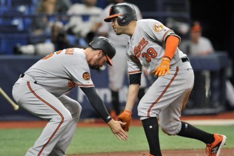 Orioles score 6 in ninth, hold on to beat Rays 9-6