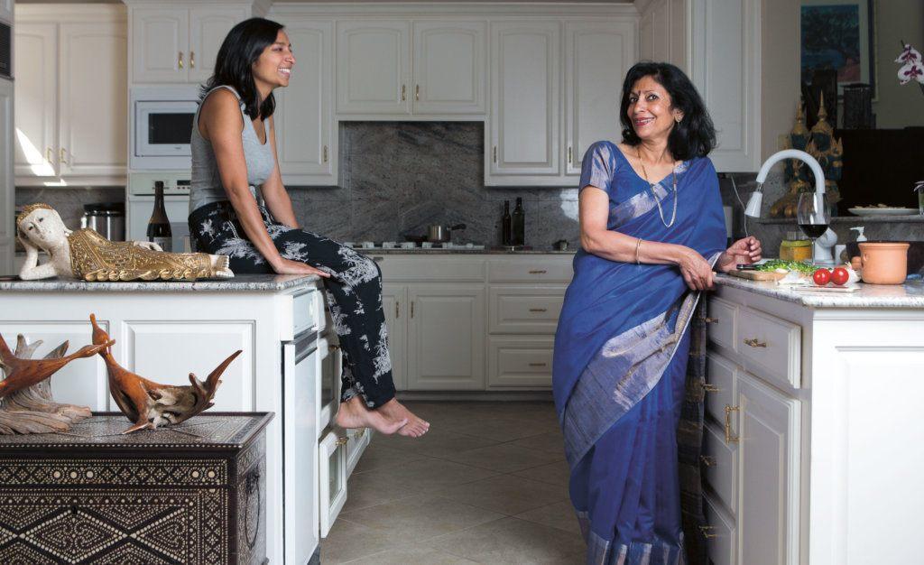 Priya Krishna and her mom, Ritu, in the kitchen.