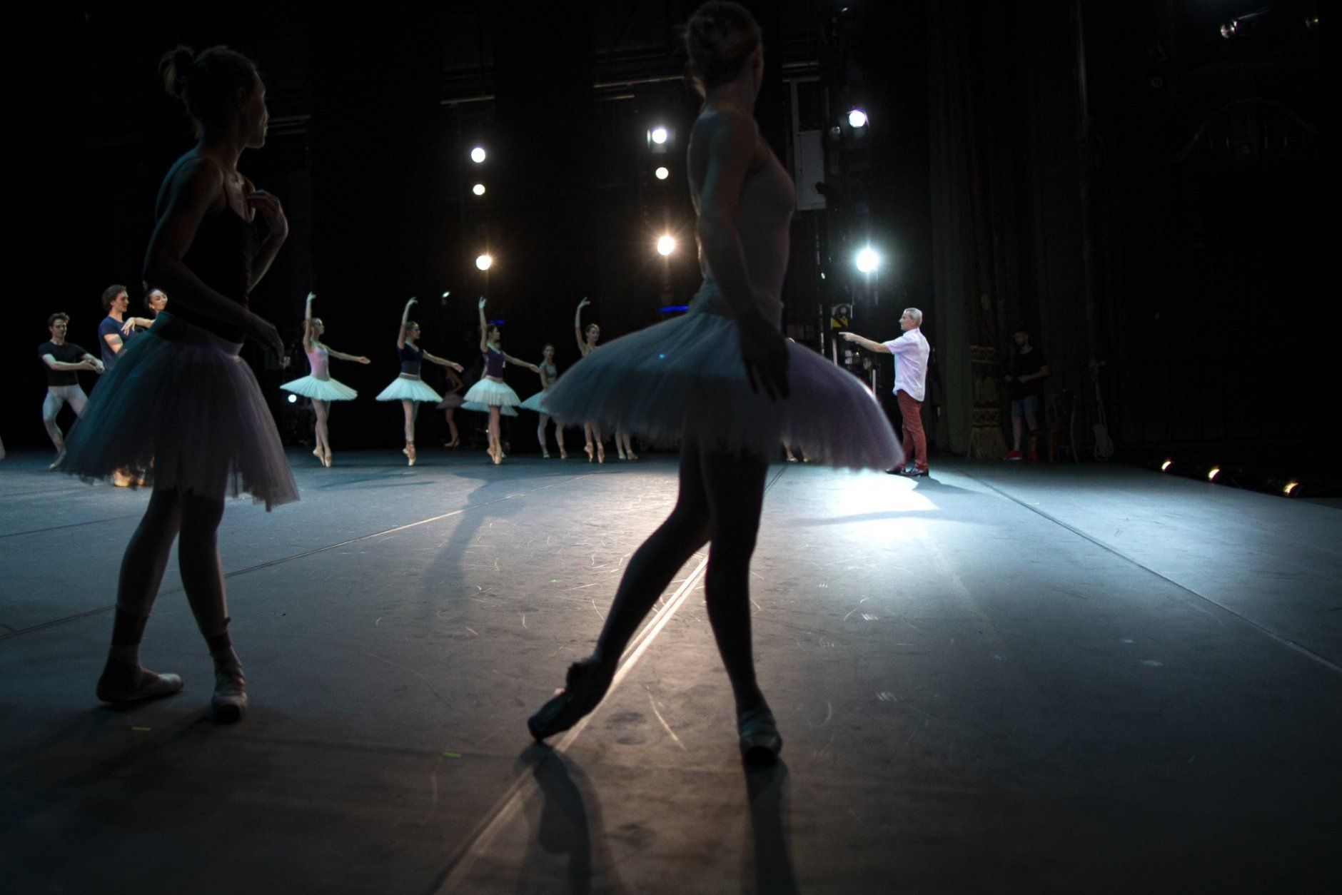 In this photo taken on Tuesday, June 11, 2019, The ballet director of the Bolshoi Theater Makhar Vaziev gestures as he conducts a rehearsal in the Bolshoi Theater in Moscow, Russia. Backstage, the dancers warm up, chalk their ballet shoes, or sit checking their social media, but once onstage, the ballet director at the Bolshoi Makhar Vaziev is an exacting ballet master who scrutinizes technique closely and spares no one's feelings if he sees a mistake.   (AP Photo/Alexander Zemlianichenko)