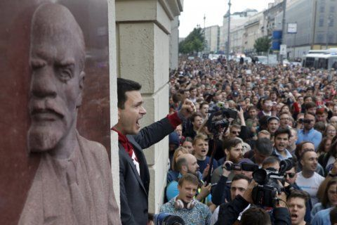 Russian opposition rallies for Moscow election candidates
