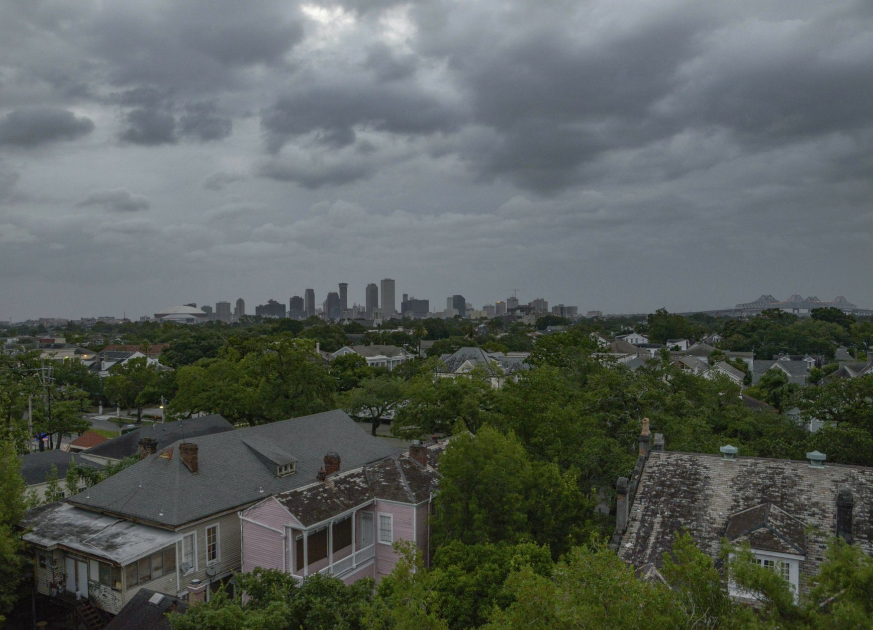 Clouds cover the sky over New Orleans ahead of Tropical Storm Barry making landfall in the Gulf of Mexico on Saturday, July 13, 2019. (AP Photo/Matthew Hinton)