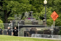 """An M1A1 Abrams tank is parked nearby the Lincoln Memorial for President Donald Trump's 'Salute to America' event honoring service branches on Independence Day, Thursday, July 4, 2019, in Washington. President Donald Trump is promising military tanks along with """"Incredible Flyovers & biggest ever Fireworks!"""" for the Fourth of July. (AP Photo/Andrew Harnik)"""