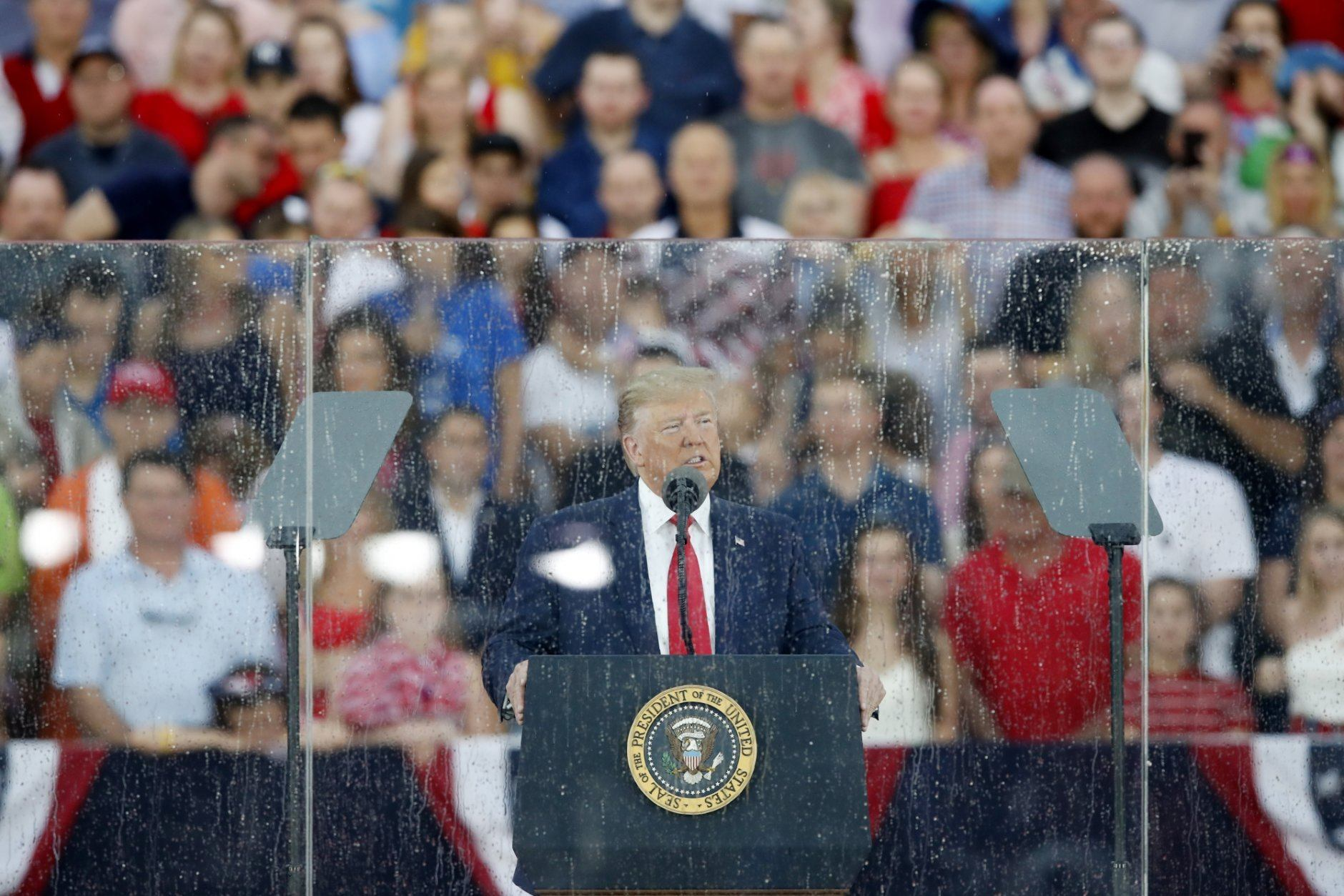 President Donald Trump speaks during an Independence Day celebration in front of the Lincoln Memorial, Thursday, July 4, 2019, in Washington. (AP Photo/Alex Brandon)
