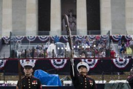 The U.S. Marine Corps Silent Drill Platoon performs during an Independence Day celebration in front of the Lincoln Memorial, Thursday, July 4, 2019, in Washington. (AP Photo/Alex Brandon)