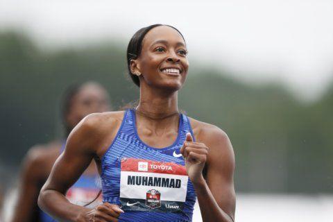 Muhammad breaks world record in 400 hurdles at nationals