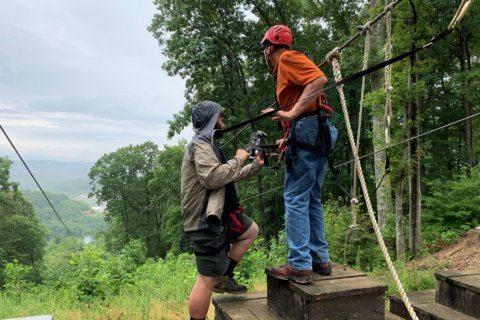 W. Virginia senators take zip line ride at Scout Jamboree