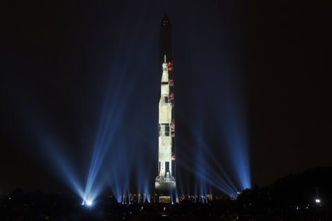 PHOTOS: Apollo 11 projected onto Washington Monument
