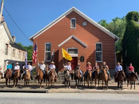 Cowboys for Trump on their ride from Cumberland, Maryland, to the outskirts of D.C. on the C&O Canal. (Courtesy Cowboys for Trump/Armand Smithberger and Aimee Bryan)