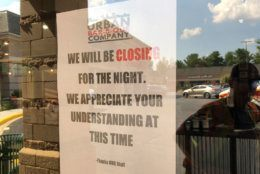 <p>Urban Bar-B-Que on Norbeck Road in Rockville, Maryland, is closed for the night after a van crashed through the restaurant on Tuesday, July 30, 2019.</p>