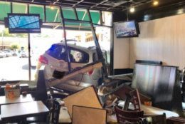 <p>The van crashed into the restaurant.</p>