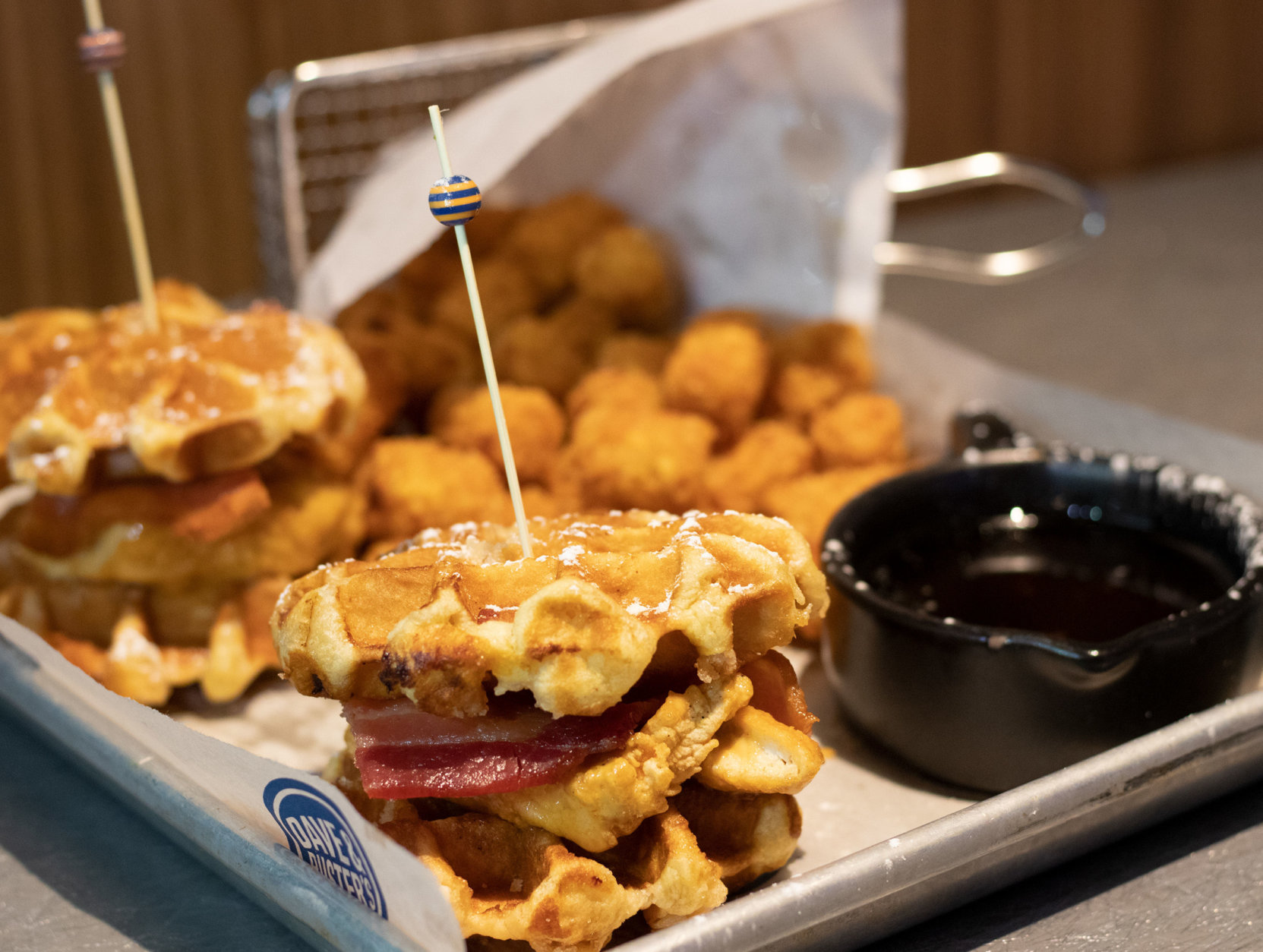 Dave and Buster's Chicken and Waffle Sliders