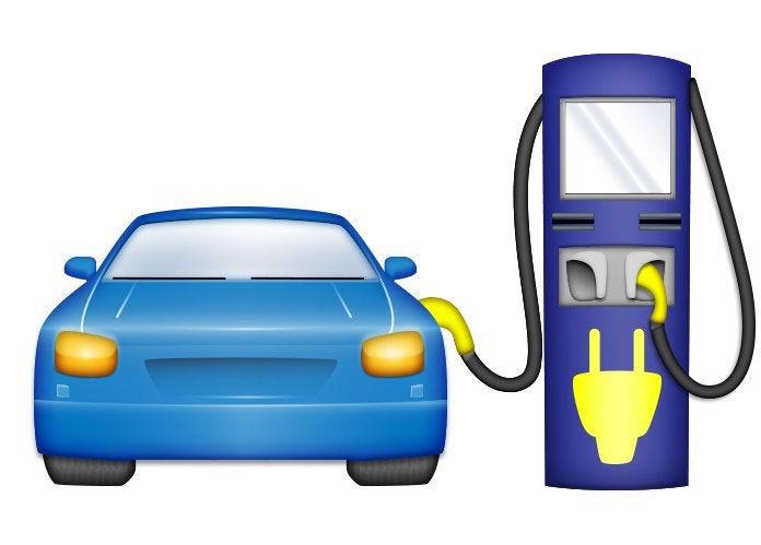 emoji showing an electric vehicle charging station