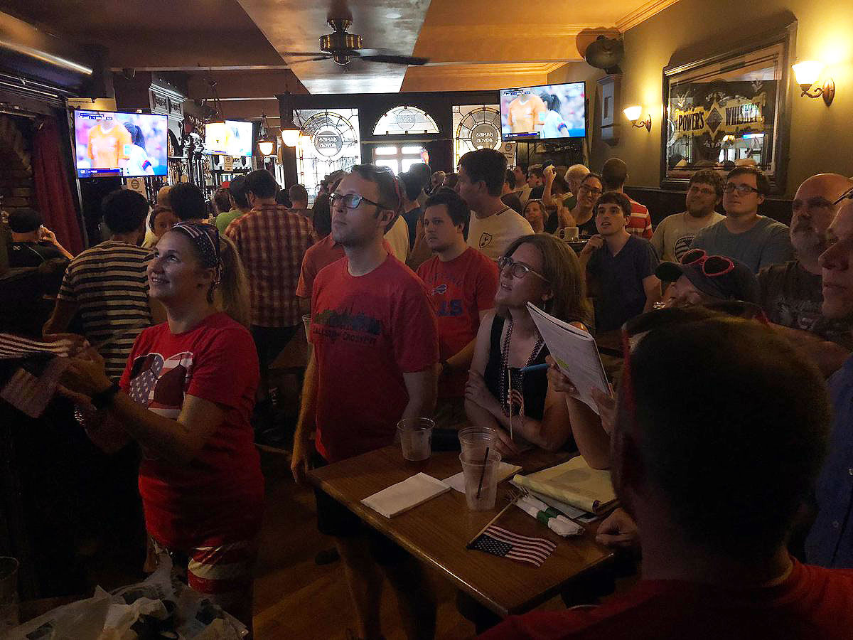 Fans at Ireland's Four Courts said they enjoyed being a part of a large community watching the World Cup this summer. (WTOP/Keara Dowd)