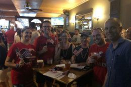 Even at an Irish pub, there were plenty of American flags to go around during the game. (WTOP/Keara Dowd)