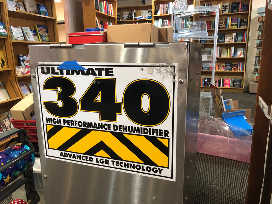 An industrial-strength humidifier is helping with the cleanup at Hooray for Books. (WTOP/Kristi King)