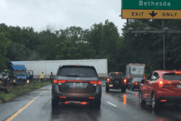 A tractor-trailer clogs the Capital Beltway