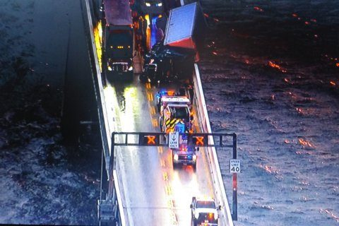 Lanes reopened 4 hours after tractor trailer overturns on Chesapeake Bay Bridge