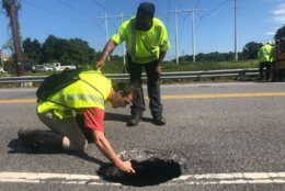 <p>The closure stretches from Beards Point Road to Riva Road and was discovered early Wednesday, after a driver hit the hole and an officer stopped to help.</p>