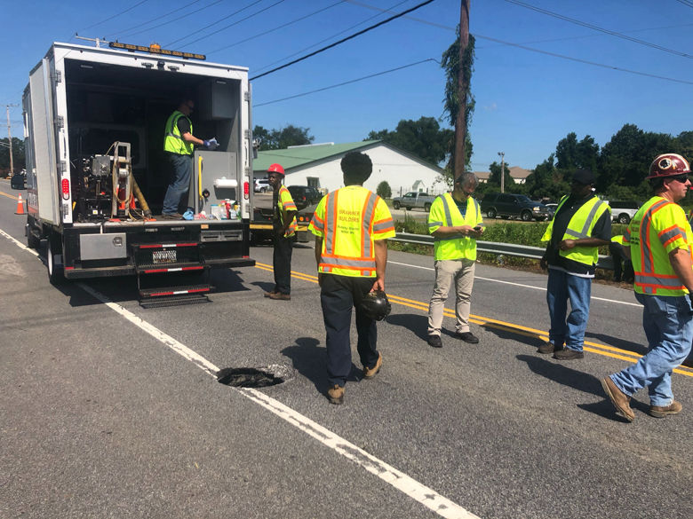 <p>Charlie Gischlar with the Maryland Department of Transportation estimates the sinkhole is about 2 feet wide and 5 to 6 feet deep; it's likely the result of a damaged pipe, he added.</p>