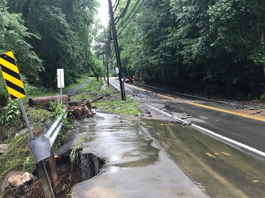 washed out road in potomac maryland