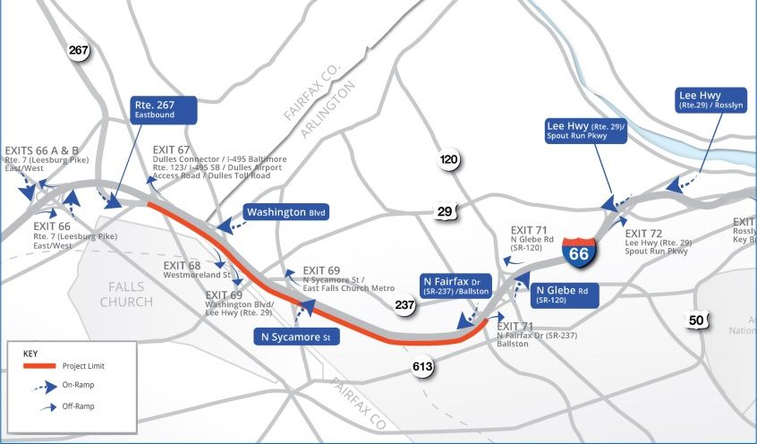 This map shows the Virginia Department of Transportation's plan to widen eastbound lanes of I-66 inside the beltway. (Courtesy Virginia Department of Transportation)