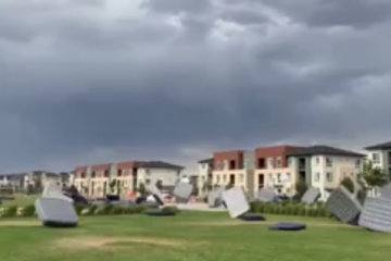 Off with their beds: High winds send mattresses flying