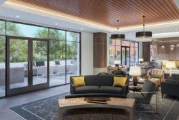 Renderings of the Modena Reserve at Kensington senior living community. The upscale development includes 135 apartments, a 10,000-square-foot courtyard, multiple restaurants, a full-service wine bar, fitness center and a penthouse lounge.