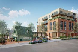 Another exterior view of the development, showing how designs will incorporate two historic buildings.