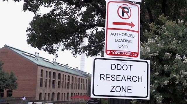 To discourage drivers not registered with the app from using the reserved parking spots, so-called curbFlow ambassadors will inform them the space is a DDOT research zone for the next three months and will be told they're not allowed to use it. (Courtesy District Department of Transportation)