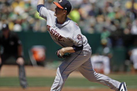 Greinke gets 200th win, pitches Astros past A's 4-1
