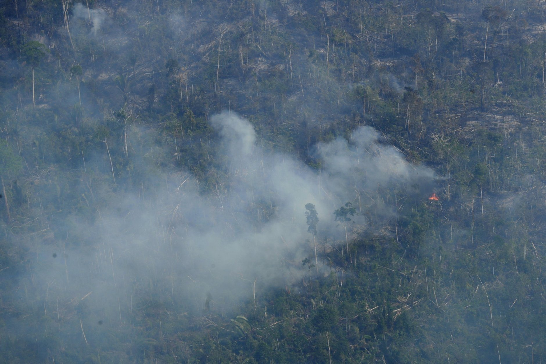Fire consumes an area near Jaci Parana, state of Rondonia, Brazil, Saturday, Aug. 24, 2019. Brazil says military aircraft and 44,000 troops will be available to fight fires sweeping through parts of the Amazon region. The defense and environment ministers have outlined plans to battle the blazes that have prompted an international outcry as well as demonstrations in Brazil against President Jair Bolsonaro's handling of the environmental crisis. (AP Photo/Eraldo Peres)