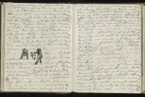 Handwritten notes highlight British Queen Victoria's grief