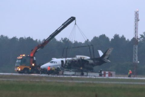 Reports: Plane carrying Pink's crew crash lands in Denmark