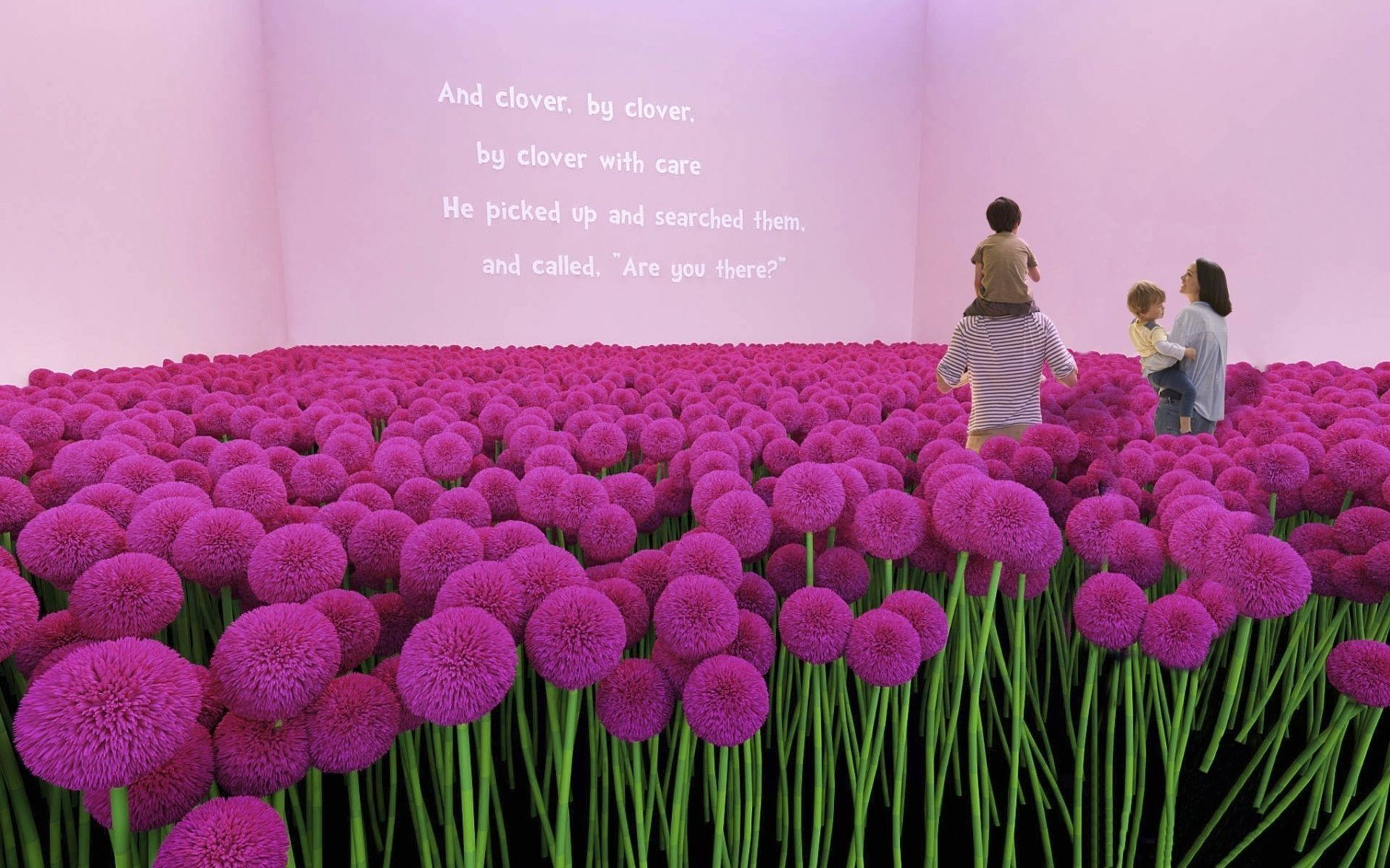 """This undated rendering provided by Dr. Seuss Enterprises shows a field of clover, from Seuss' book """"Horton Hears a Who,"""" that will be incorporated as part of a touring immersive attraction tied to the work of the famous late author and illustrator of children's books. The exhibit is scheduled debut in Toronto in October 2019, followed by visits to several cities in the United States. (Kilburn Experiences, LLC/Dr. Seuss Enterprises via AP)"""