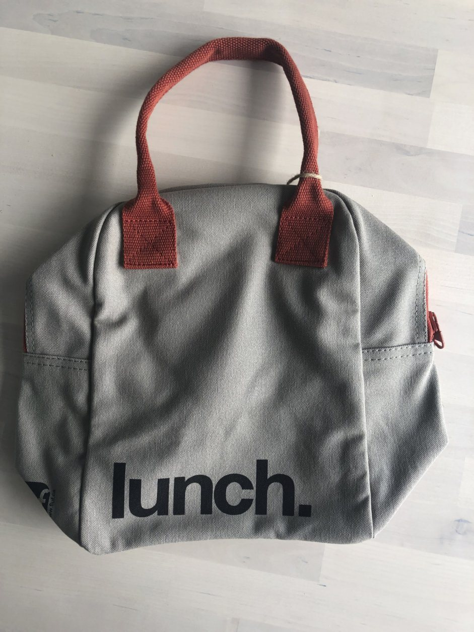This 2019 photo taken in New York shows an organic, washable Zip Lunch Bag from Fluf with rinsable lining. (Katie Workman via AP)