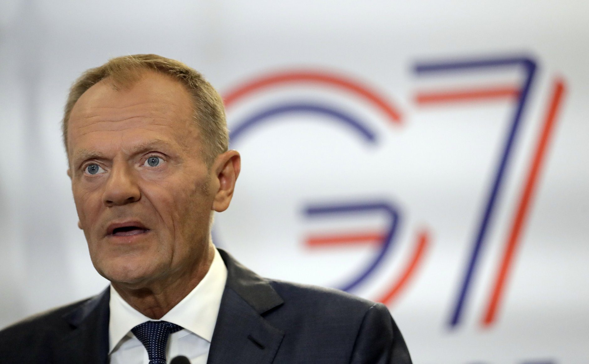 President of the European Council Donald Tusk speaks during a press conference on the first day of the G-7 summit in Biarritz, France Saturday, Aug. 24, 2019. U.S. President Donald Trump and the six other leaders of the Group of Seven nations will begin meeting Saturday for three days in the southwestern French resort town of Biarritz. France holds the 2019 presidency of the G-7, which also includes Britain, Canada, Germany, Italy and Japan. (AP Photo/Markus Schreiber)