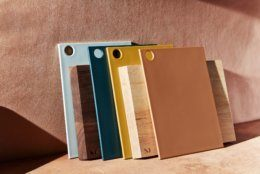 <p>This undated photo provided by Material shows their reBoard cutting boards which are made of recycled plastic and renewable sugarcane. The warm palette includes a range of earth tones, including a terracotta-hued coral. (Material via AP)</p>