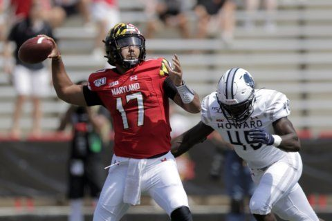 Maryland rolls past Howard 79-0 in Locksley, Jackson debuts