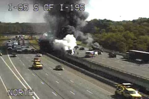 2 tractor-trailers collide, catch fire on I-95 near BWI