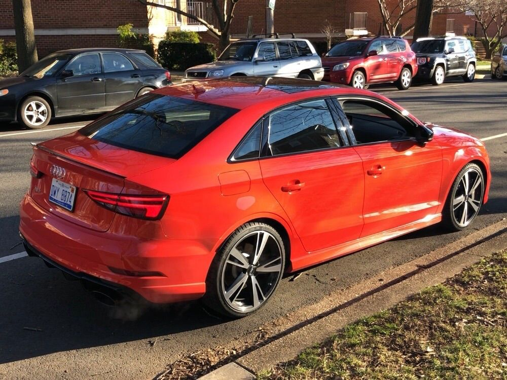 <p>This Audi RS3 has a wonderfully snappy exhaust note. However, it feels like you need a racetrack to get a sense of the 400 horsepower on tap. Even at this price, most of the seat controls are manual.</p>