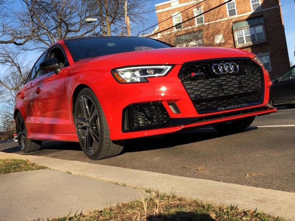 <p><strong>2018 Audi RS3 Sedan 2.5T Quattro S tronic</strong></p> <p><strong>Price</strong>: $68,800 as driven</p> <p>An insane combination of a powerful engine in a small car, in a &#8220;dear God, look at me&#8221; orange-red — technically speaking, Catalunya Red metallic.</p>