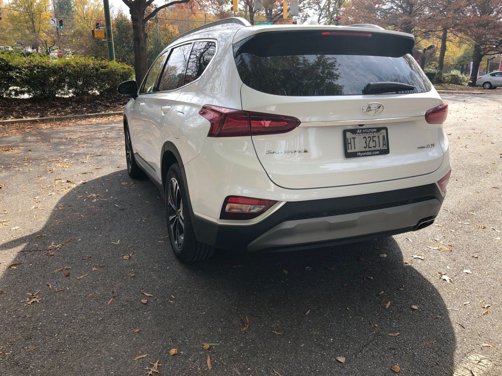 <p>The tail end isn't as stylish as the rest, but a rooftop spoiler and taillights the wrap around toward the sides of the Santa Fe are more appealing than most crossovers today.</p>