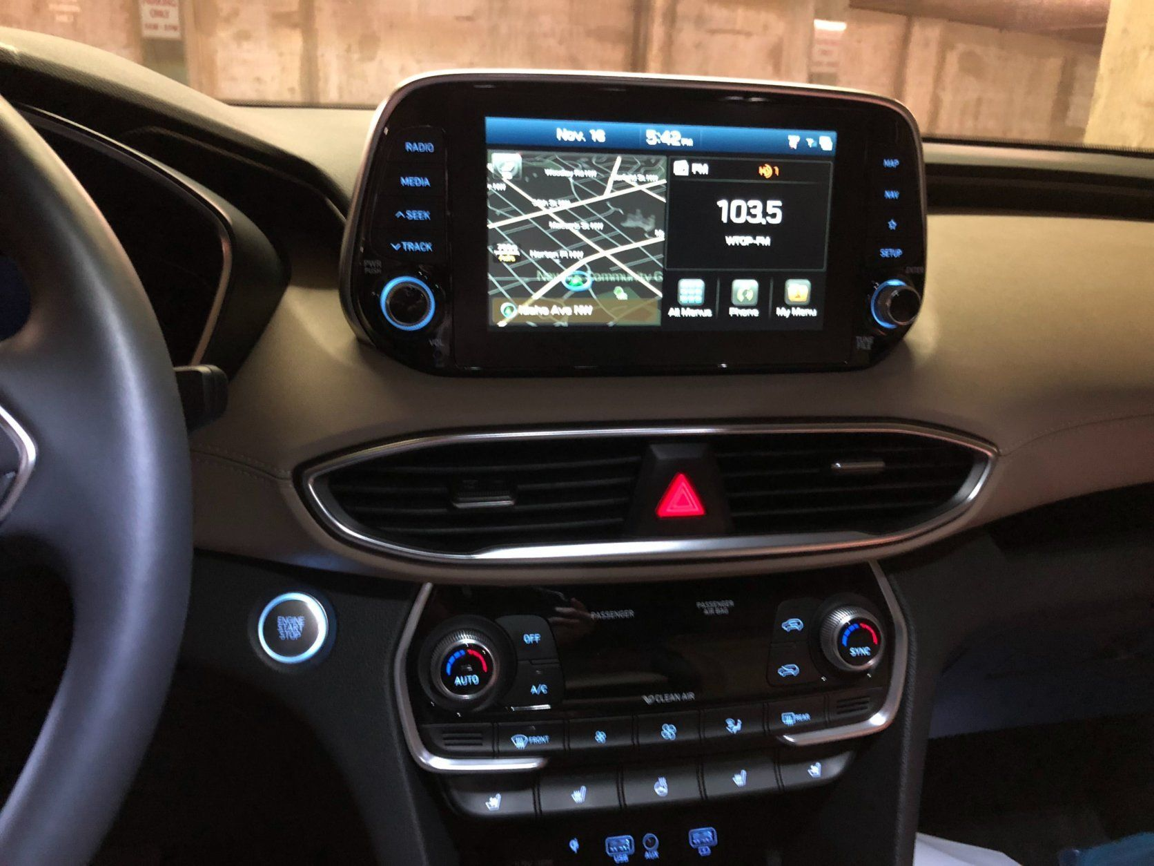 <p>The technology game is also updated for 2019. Wireless charging for all size phones is a bonus. The eight-inch touchscreen works the first time, plus knobs are still here for both volume and tuning. I'm not as crazy about the almost glued-on look of the large NAV screen on top of the dash, but it seems like others are doing it, so I should get used to it. No complaints about the premium sound system. It's one of the better sounding in a Hyundai.</p> <p>A large standard panoramic sunroof lets in a lot of light and air when open.</p>