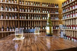 A table and wine rack from Locavino
